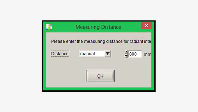 If this calibration file will be used, a window will appear, where the measuring distance must me written in
